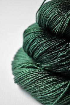 In the dark forest OOAK - Merino/Silk superwash yarn fingering weight. €18,50, via Etsy.