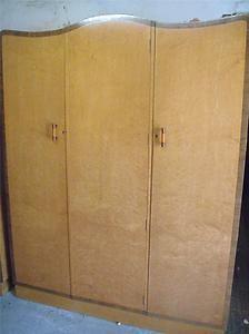 Good Art Deco bird's eye maple and rosewood triple door fitted wardrobe   eBay