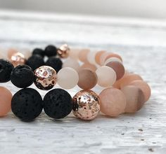 Blush pink and rose gold beaded gemstone stretch bracelet Pick. Friendship Bracelets With Beads, Gemstone Bracelets, Gemstone Beads, Diy Jewelry, Beaded Jewelry, Handmade Jewelry, Jewelry Making, Insect Jewelry, Diffuser Jewelry