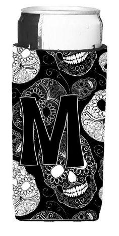 Letter M Day of the Dead Skulls Black Ultra Beverage Insulators for slim cans CJ2008-MMUK
