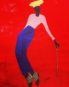 Painting by Jamilla Okubo. Vibrant colours: Red, Blue, Pink and Yellow. #Art #AfricanArt #AfricanStyle @ethicalfashion1