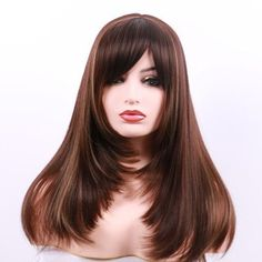 Buy Long Side Bang Layered Colormix Straight Party Synthetic Wig, sale ends soon. Be inspired: discover affordable quality shopping on Gearbest Mobile! Different Hairstyles, Hairstyles With Bangs, Straight Hairstyles, Bangs Hairstyle, Synthetic Lace Front Wigs, Synthetic Wigs, Short Hair Updo, Short Hair Cuts, Long Side Bangs