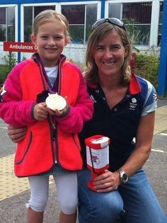Katherine Grainger with Millie of Millie's Dream, a charity raising money to put defibrillators into as many Berkshire schools as possible