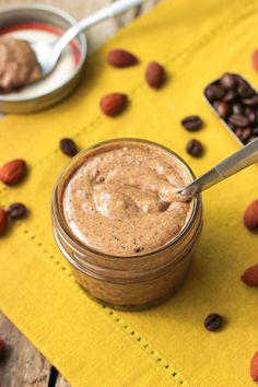 This creamy vanilla espresso almond butter is a delicious and unique spin on a favorite! No added oil or sugar, and cheaper than store-bought! | mysequinedlife.com