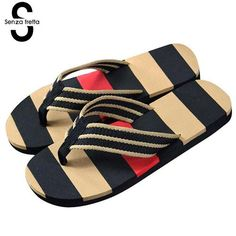 080133fdccea Mens Flip Flop Summer Flops Outdoor Stripe Casual Sandals Slippers Mens  Slippers