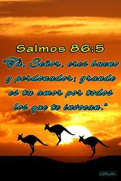 """- Salmos 86:5 - """"Tú, Señor, eres bueno y perdonador; grande es tu amor por todos los que te invocan."""""""