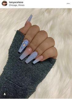 Top 32 Acrylic Nail Designs of 2020 : Page 4 of 32 : Creative Vision Design - Acrylic nails Blue Acrylic Nails, Acrylic Nails Coffin Short, Simple Acrylic Nails, Summer Acrylic Nails, Coffin Nails, Summer Nails, Simple Nails, Blue Ombre Nails, Nail Pink
