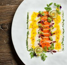 Salmon Carpaccio plating