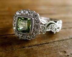 Natural White Sapphire & Diamond Engagement Ring in 14K White   Etsy