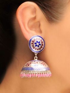 Pink Meenakari Silver Jhumka Earrings