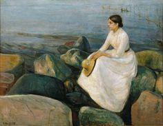 """#EdwardMunch """"Sommernatt. Inger på stranden"""" 1889"""