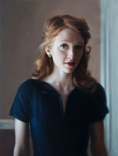 "Katie, oil on linen, 21""x16"", 2012, by Amy Ling"