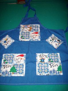 Blue Christmas Apron  Art Smock  2 Pocket by CarriesCraftStore