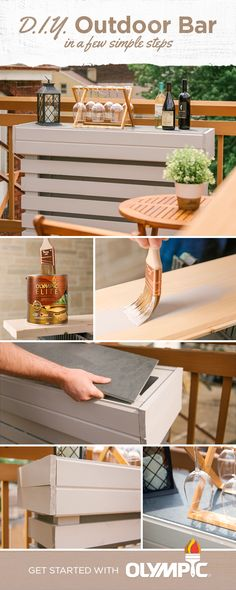 Want a DIY project perfect for entertaining? This unique bar takes only a few days to stain and assemble and gives you a great reason to have friends over. We built it for a small outdoor patio but you can make it larger depending on the size of your outdoor space (or your appetite for entertaining). Backyard Projects, Outdoor Projects, Backyard Patio, Home Projects, Small Outdoor Patios, Outdoor Living, Outdoor Decor, Outdoor Kitchen Bars, Diy Bar