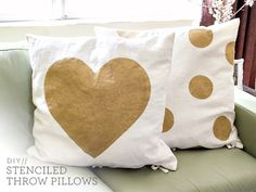 DIY Freezer Paper Stenciled Throw Pillows by Sarah Hearts