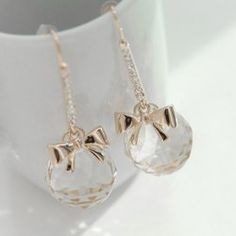 $7.64 Pair Of Elegant Ball Shape Crystal Design Women's Bowknot Drop Earrings