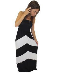 Black and White Chevron Maxi Dress – Birdie