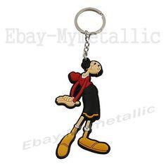 Popeye-the-Sailor-Olive-Oyl-9cm-3-6-034-PVC-Figure-Pendant-Key-Ring-Chain