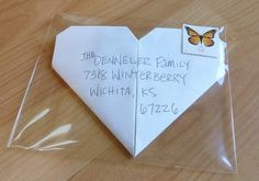 "♥Project Denneler: Hand-folded, heart-shaped, finger-cramping, personally-addressed ""love"" letters to friends and family in clear envelopes. Snail mail art at its best. Pen Pal Letters, Pocket Letters, Love Letters, Valentine Love, Snail Mail Pen Pals, Snail Mail Gifts, Envelope Art, Heart Envelope, Fun Mail"