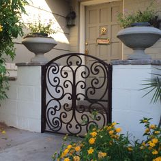 Front Entry Gate with Handmade Scrollwork House Front Gate, Porch Gate, Front Gates, Entrance Gates, Front Entry, Entry Doors, Patio Courtyard Ideas, Front Courtyard, Wrought Iron Decor