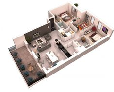 By putting the dining table in the kitchen, this layout opens up more room for the living area.
