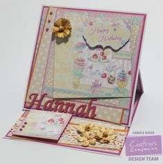 """Day 6 - Easel Card - Crafter's Companion Camden Town CD, Downton Abbey Elegant Border Die, Die'sire 1"""" Decorative Alphabet - #crafterscompanion #photoaday"""