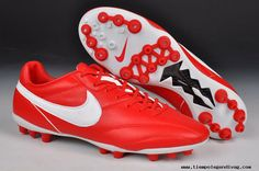 ceb67aec3fd Authentic Red White Nike The Premier AG Boots For Wholesale Sneakers Nike