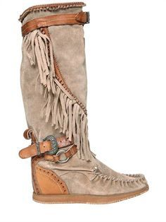 EL VAQUERO, fringed over the knee suede boots, Beige, Luisaviaroma - Internal heel . Boho Boots, Fringe Boots, Cowgirl Boots, Fringe Moccasin Boots, Wedge Boots, High Heel Boots, High Heels, Cute Shoes, Women's Shoes