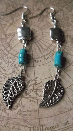 Turquoise Bead Dangle Earrings Silver Earrings Beaded