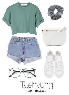 """Concert with Taehyung"" by btsoutfits ❤ liked on Polyvore featuring Levi's, Topshop, Alexander McQueen and Forever 21"