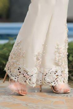 ⚜️Ana Rosa⚜️: Photo Simply WHITE Elegance Ruffle Criss-Cross Two Piece Swimsuit In Black, Summer workwear outfit ideas. Pakistani Dresses Casual, Pakistani Bridal Dresses, Indian Fashion Dresses, Pakistani Dress Design, Lace Wedding Dress, Wedding Dresses, Rose Henna, Fashion Pants, Fashion Outfits
