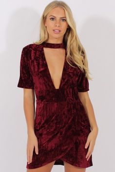 Wine Crushed Velvet Choker Plunge Dress - Sonia