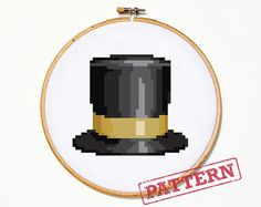 Emoji Top Hat Cross Stitch Pattern by TheStrandedStitch on Etsy