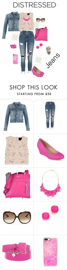 """True Blue: Denim afastado"" by daianetavares310 ❤ liked on Polyvore featuring Yves Saint Laurent, River Island, Needle & Thread, Journee Collection, Tumi, George J. Love, Christian Dior, Kate Spade and Casetify"