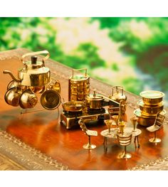 Utensils Miniature Chai And More With Brass Kitchen Ware