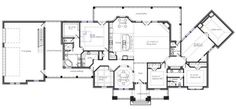 Texas House Plans Great Layout - lots of covered porches outside - room to spare and nice features! This would be wonderful! Texas House Plans, Rustic House Plans, Country House Plans, Farmhouse Plans, Home Design Plans, Plan Design, Bath With Door, Outside Room, One Story Homes