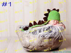 Frete grátis, 5pcs/lot baby crochet chapéus, baby dinossauro artesanal chapéu, crianças tricô tampã...
