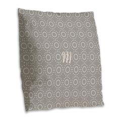 Gray Cream Dotted Double Rings Pattern Burlap Throw Pillow #grey #personalized #pattern #dots #pillow