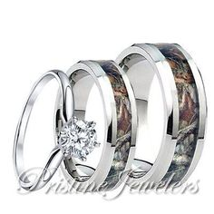 Womens 925 Sterling Silver Ring Mens Tungsten Mossy Forest Oak Camo Band 3pc Set