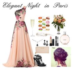 """""""Elegant Night in Paris"""" by loquaciouslex ❤ liked on Polyvore featuring Dsquared2, Michael Kors, Oscar de la Renta, Lancôme, Chanel, ALDO, Nearly Natural and Crate and Barrel"""