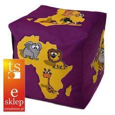 Fantastyczna pufka dla dzieci przedstawiająca kontynenty i zwierzaki