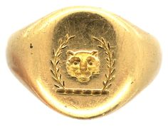 Victorian 18ct Gold Signet Ring with Lion's Head & Laurel Leaves Intaglio - The Antique Jewellery Company