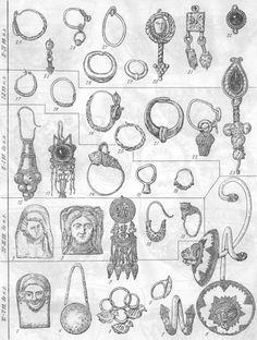Таблица CLXII. Серьги 1—3—изображение серег на протомах из Пантикапея (1), Горгиппии (2), золотой пластинке из Большой Близницы (3); 4 — Херсонес У—IV вв. до н. э.; 5 — Ольвия VI в. до н. э.; 6 — Херсонес V—IV вв. до н. э.; 7 — Боспор VI—V вв. до н. э.; 8 — Ольвия VI в. до н. о.; 9 — Большая Близница IV в. до н. э.; 10 — Херсонес V—IV вв. до н. э.; 11 — Большая Близница IV в. до н. э.; 12 — Тузла II в. до н. э.; 13 — Пантикапей I в. до н. э.; 14 — Херсонес II—I вв. до н. э.; 15 — Танаис II…