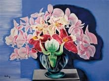 **Moïse Kisling 1891-1953 (Polish, French) Les orchidees, 1938 oil on canvas