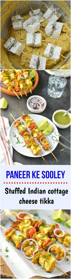 Paneer ke Sooley – Cubes of paneer (Indian cottage cheese) are stuffed with cheese, marinated with yogurt, aromatic spices and grilled to perfection! - Paneer ke Sooley - Cubes of paneer (Indian cottage cheese) are stuffed with chee. Veggie Recipes, Indian Food Recipes, Vegetarian Recipes, Cooking Recipes, Veggie Food, Rice Recipes, Cooking Tips, Punjabi Recipes, Snack Recipes