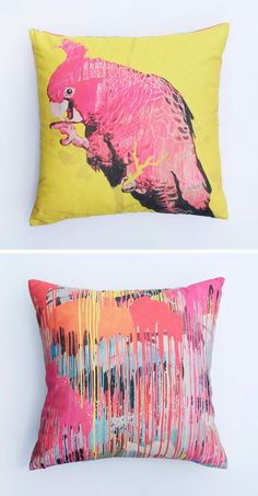 Martinich – 'Male Gang Gang' cushion. Geoffrey Carran Cockatoo painting on side A. Rowena Martinich abstract expressionist painting on side B. The cover is natural pigment dye on organic cotton hemp. The cushion cover comes with a quality feather fibre inner. • Available at thebigdesignmarket.com