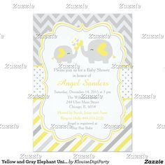 Yellow and Gray Elephant Unisex Baby Shower Card