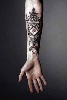 Forearm Tattoo: Eye, Dot Work, Symmetric