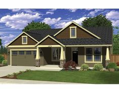 Ranch House Plan with 1874 Square Feet and 4 Bedrooms from Dream Home Source | House Plan Code DHSW69567