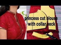 Princess cut blouse cutting 34size with collar neck - YouTube